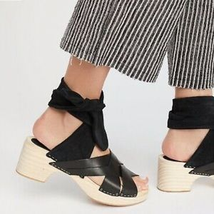 Free People Ankle Wrap Sandals Leather Suede